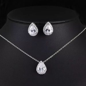 NEW White Gold Plated Pear Cut Halo Jewelry Set